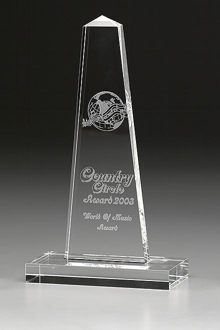 "Kristallglas-Trophäe ""Obelisk Award"""