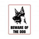 """Hinweisschild """"Beware..."""" Schäferhund"""